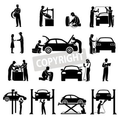 Quadro Icone di servizio di auto di serie nera con il meccanico e macchine sagome illustrazione vettoriale isolato