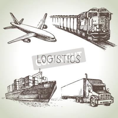Quadro Icone disegnate a mano di schizzo e consegna logistica impostate. Illustrazione vettoriale