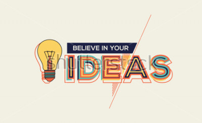 Quadro Idea. Design moderno di tipografia in stile geometrico. Design creativo per la grafica della parete, poster tipografici, pubblicità, web design e grafica di spazi per uffici.