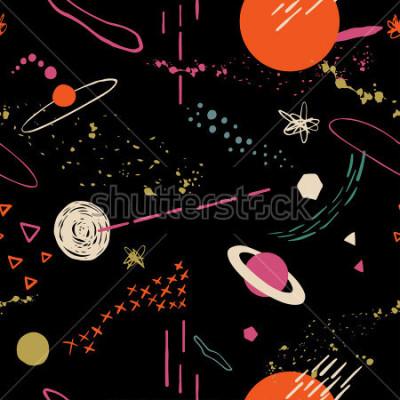 Quadro Il modello colorato senza cuciture con spazio, stelle, galassie, costellazioni. Sfondo sovrapposti disegnati a mano per il tuo disegno. Tessile, decorazione blog, banner, poster, carta da imballagg