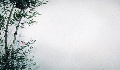 Quadro Il piccolo uccello in un boschetto di bambù. L'immagine in stile giapponese