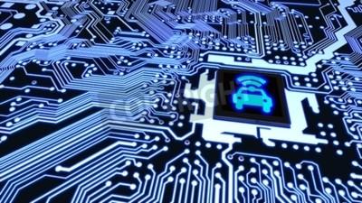 Quadro Il primo piano blu del circuito si è collegato ad un CPU con un simbolo d'accensione di wifi dell'automobile sull'illustrazione astuta di concetto 3D del veicolo