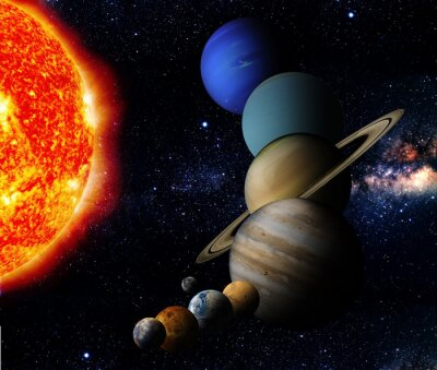 Quadro Il sole e nove pianeti del nostro sistema orbitante