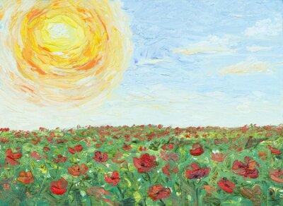 Quadro Il sole sopra il campo di papaveri, pittura, olio su tela