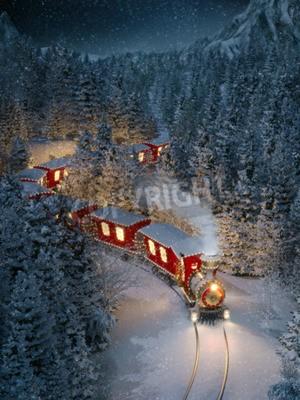 Quadro Il sorprendente treno natale di natale attraversa una foresta invernale fantastica nel polo nord. Illustrazione 3d insolito di natale