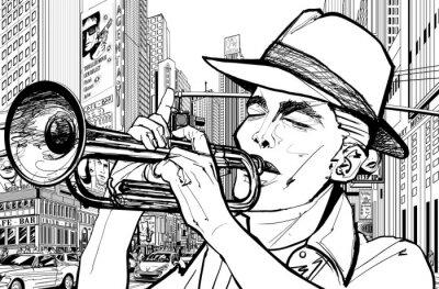 Quadro il trombettista in new-york