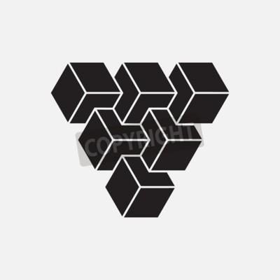 Quadro Illusione ottica, cubi, elemento geometrico, illustrazione vettoriale