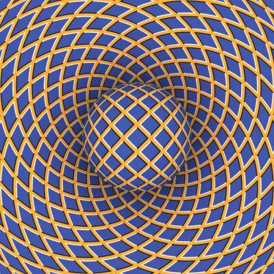 Quadro Illusione ottica di rotazione della palla contro il fondo di uno spazio in movimento.
