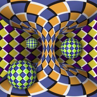 Quadro illusione ottica di rotazione di tre palle intorno di un iperboloide in movimento. Abstract background.