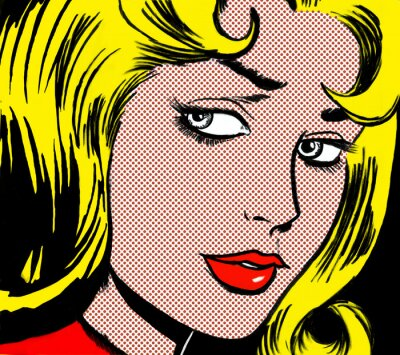 Quadro illustration of a girl face in the style of 60s comic books, pop art