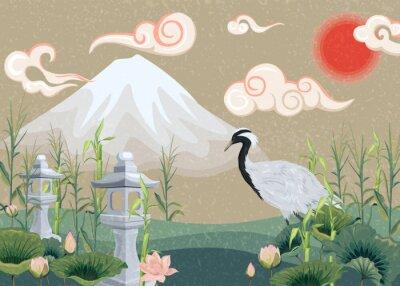 Quadro illustration with mountain, crane, lotuses and lanterns