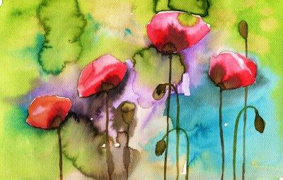 Quadro illustrazione acquerello raffigurante fiori di primavera nel prato