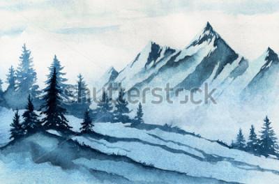 Quadro Illustrazione ad acquerello Paesaggio invernale montagne, alberi, cielo.