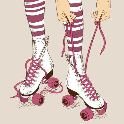 Quadro Illustrazione con gambe femminili in pattini a rotelle retrò