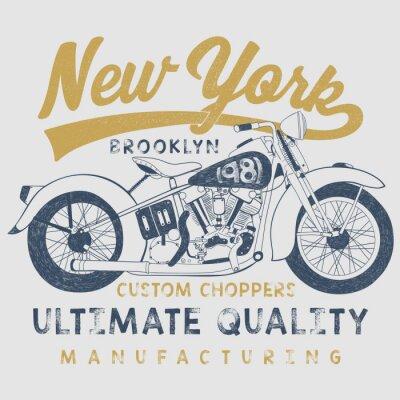 Quadro illustrazione d'epoca moto schizzo con la tipografia