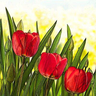 Quadro illustrazione dei tulipani rossi