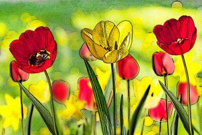 Quadro illustrazione del letto di tulipani