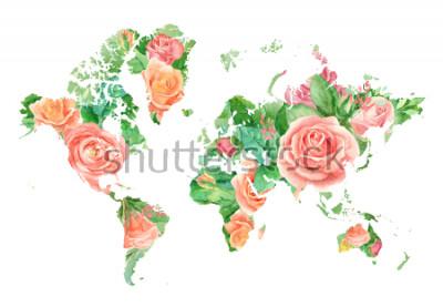 Quadro Illustrazione dell'acquerello della mappa del mondo in fiori. Modello per progetti fai-da-te, inviti di nozze, biglietti di auguri, poster, blog, sito web