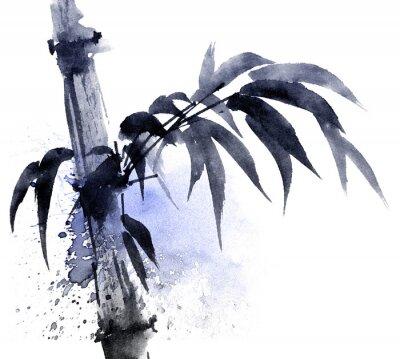 Quadro Illustrazione dell'acquerello e dell'inchiostro di bambù con watersplashes di colore. Pittura tradizionale orientale in stile sumi-e, u-sin. Illustrazione artistica