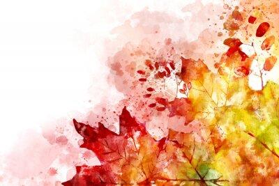 Quadro Illustrazione dell'immagine di caduta. Fondo di autunno con le foglie di acero gialle e rosse. Pittura ad acquerello digitale.