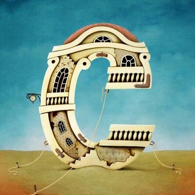 Quadro Illustrazione della lettera in forma di edifici