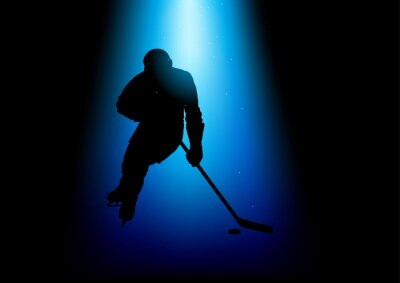 Quadro Illustrazione della sagoma di un giocatore di hockey