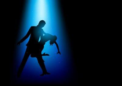 Quadro Illustrazione della sagoma di una coppia che balla