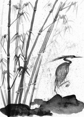 Quadro illustrazione di airone acquerello e bambù