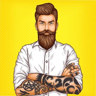 Quadro Illustrazione di arte pop di vettore di un uomo brutale barbuto, macho con tatoo piegato le braccia sul petto