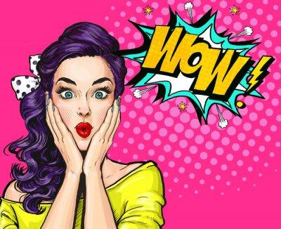 Quadro Illustrazione di arte pop, ragazza sorpresa.Comico donna. Poster Wow.Advertising. Ragazza di Pop Art. Invito del partito.