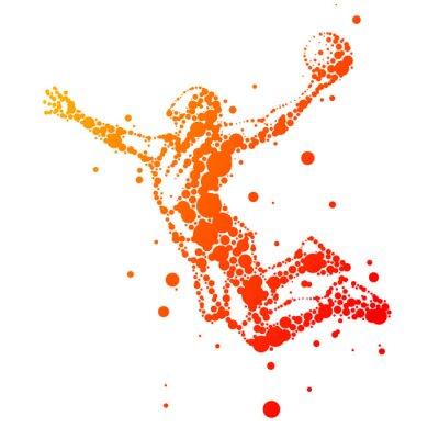 Quadro illustrazione di astratto giocatore di basket nel salto