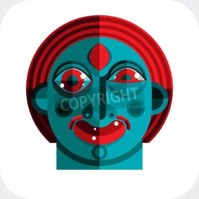 Quadro illustrazione di bizzarro avatar modernista, immagine cubismo tema. Espressione sul volto di una persona.