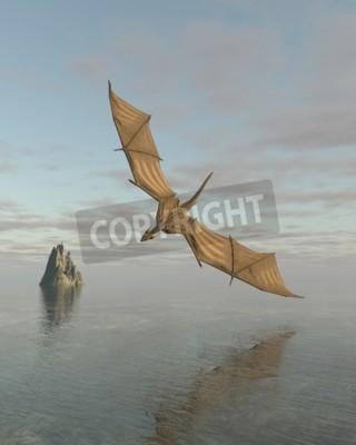 Quadro illustrazione di fantasia illustrazione di un drago volante basso sopra un mare calmo alla luce del giorno, 3d digitale reso
