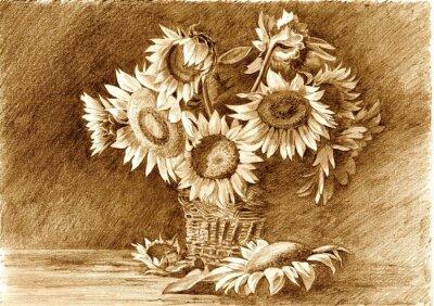 Quadro Illustrazione di matita di mazzo di girasoli in vaso primo piano