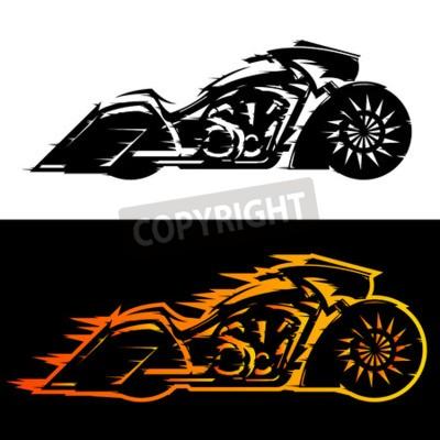 Quadro Illustrazione di vettore del motociclo di stile di Bagger, motocicletta su ordinazione di Baggers coperta in fiamme