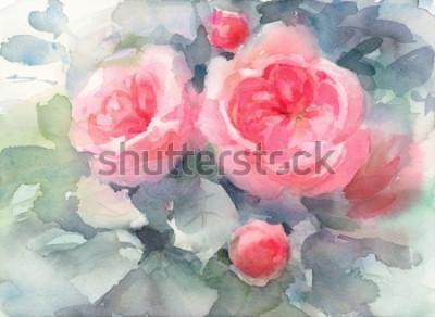 Quadro Illustrazione dipinta a mano di struttura floreale del fondo dei fiori delle rose dell'acquerello