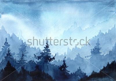 Quadro Illustrazione disegnata a mano dell'acquerello con foresta invernale. Paesaggio invernale con alberi di Natale. Biglietto natalizio