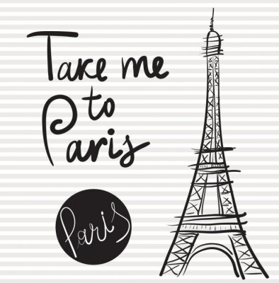 Quadro Illustrazione disegnata a mano di vettore con la torre Eiffel