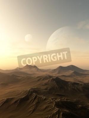 Quadro illustrazione fantascienza illustrazione di pianeti in aumento oltre l'orizzonte di un mondo alieno desolato, 3d digitale reso