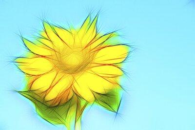 Quadro Illustrazione girasole giallo blu