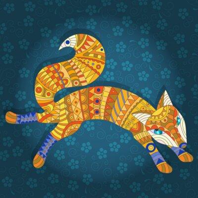 Quadro Illustrazione in stile vetro colorato gatto astratto e pesce