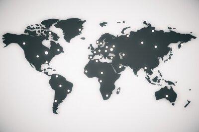 Quadro Illustrazione mappa del mondo con capitelli, rendering 3d