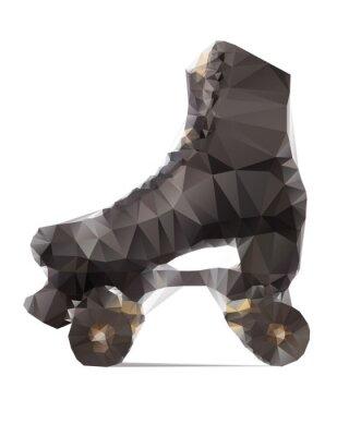 Quadro Illustrazione poligonale di pattini a rotelle nero isolato