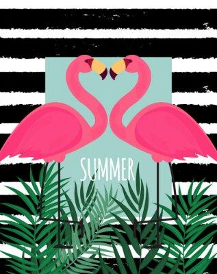 Quadro Illustrazione rosa sveglia di vettore del fondo di estate del fenicottero