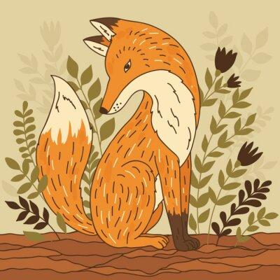 Quadro Illustrazione vettoriale con Fox