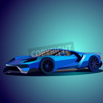 Quadro Illustrazione vettoriale di nuova auto sportive blu.