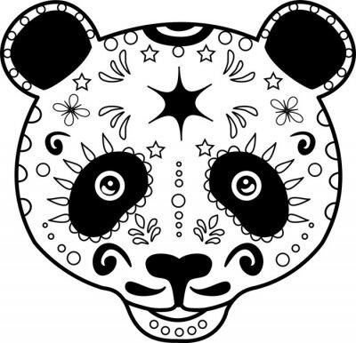 Quadro illustrazione vettoriale di testa di un panda in bianco e nero