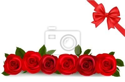 Illustrazione Vettoriale Sfondo Con Rose Rosse Dipinti Da Parete