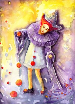 Quadro ilustracja przedstawiająca klauna kręcącego  piłeczkami