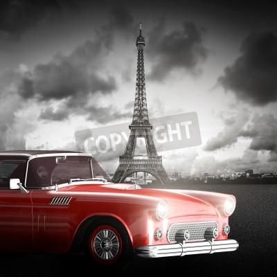 Quadro Immagine artistica della Torre Eiffel, Parigi, Francia e retro automobile rossa.